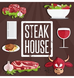 Steak house with bullmeatwine and salad vector