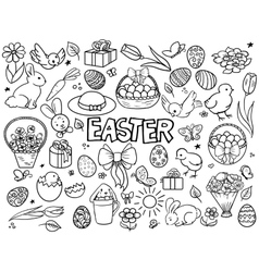 Easter elements line art style vector