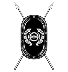 Shield and crossed spears vector