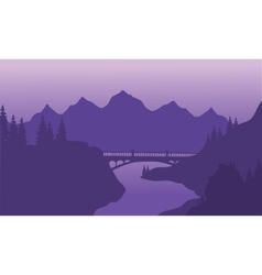 View bridge and mountain silhouette vector