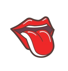 Open mouth with red lips and tongue sticking out vector
