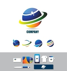 Planet circle sphere logo icon vector