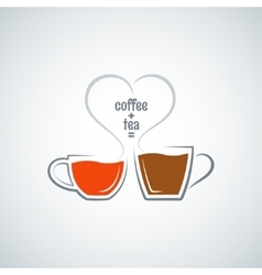 coffee and tea love concept background vector image