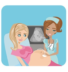 Pregnant woman with doctor vector