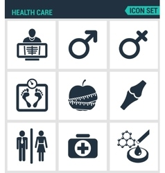 Set of modern icons health care rengen vector