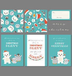 antarctic friends for merry christmas vector image vector image
