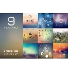 Barber shop infographic with unfocused background vector