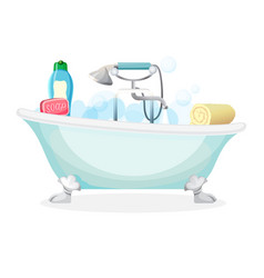 bath tub isolated full of foam with bubbles vector image vector image