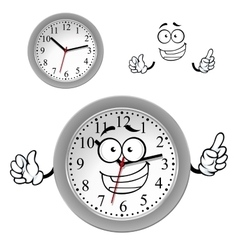 Cartoon gray office wall clock character vector