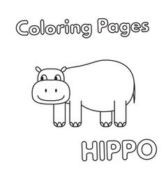 Cartoon hippo coloring book vector
