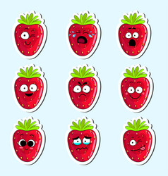 Cartoon strawberry cute character face sticker vector