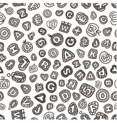 cartoon style alphabet seamless pattern comic vector image