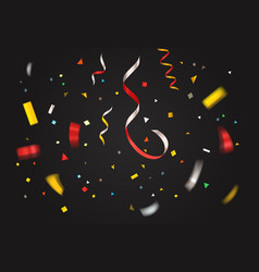 Colorful confetti on dark background layout vector