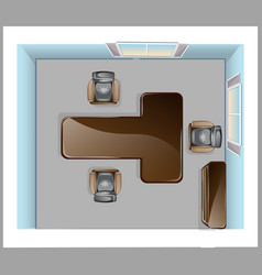 Conference room top view vector