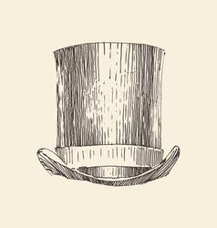 Cylinder hat vintage engraved hand vector