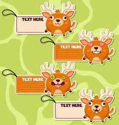 Four cute cartoon Reindeers stickers vector image vector image