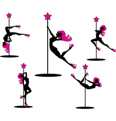 Glamourous pole dancers vector