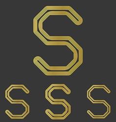 Golden line s logo design set vector