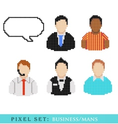 icons of pixel People vector image