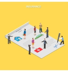 Insurance policy flat isometric concept vector image