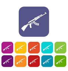 Kalashnikov machine icons set vector