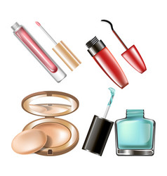 makeup cosmetics make-up accessory icons vector image