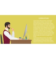 Modern young office worker using computer front vector