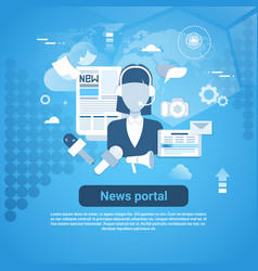 news portal web banner with copy space on blue vector image