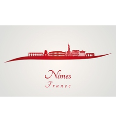 Nimes skyline in red vector image vector image
