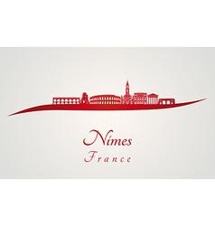 Nimes skyline in red vector image