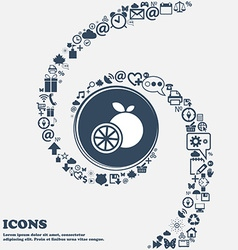 Orange icon in the center around the many vector