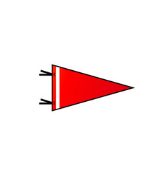 pennant on white background red flag with white vector image vector image