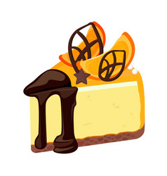 Piece of birthday cheesecake with chocolate vector