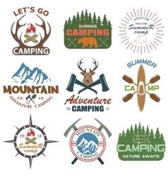 Set of camping equipment symbols vector