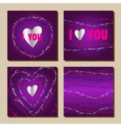 Set of cards with purple valentines day design vector