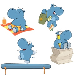 Set of hippos cartoon vector