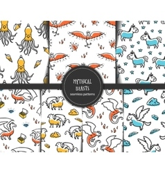Set of seamless patterns with mythical beasts vector