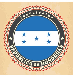 Vintage label cards of honduras flag vector