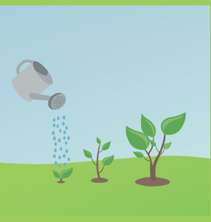 watering small plants vector image vector image
