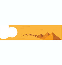 Web banner group of people with camels caravan vector