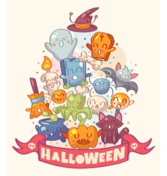 Halloween background with cute characters vector