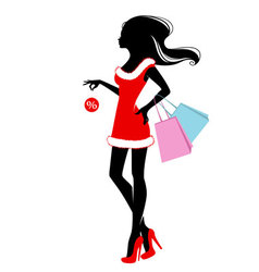 Woman xmas shopping vector