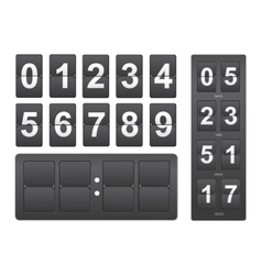 Countdown timer Black mechanical scoreboard panel vector image