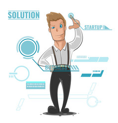 Business man cartoon startup vector