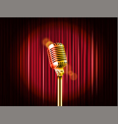 stage curtains with golden microphone standup vector image