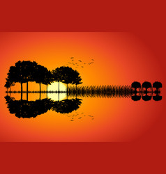 guitar island sunset vector image