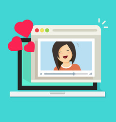 Online remote dating on laptop video communication vector