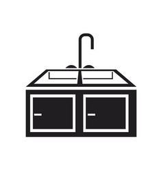 Kitchen sink with drying rack furniture vector