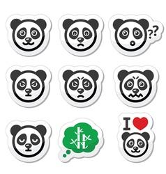 Panda bear icons set - happy sad angry isolated vector image