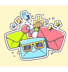Envelopes with sunglasses and financial d vector
